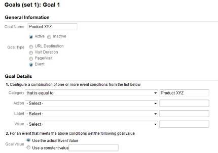 How to specify the settings for a Google Analytics Goal